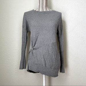 LOFT Outlet Side Twist Ribbed Tunic Sweater Grey S